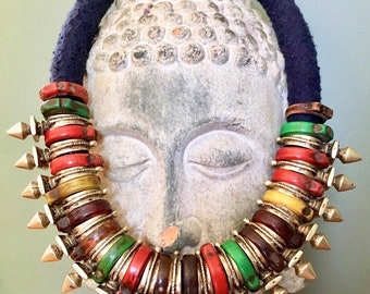 Berber Tuareg Necklace with Old Rings & Tuareg Zinder pieces, South Morocco - Niger