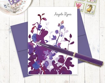 personalized stationery set - PURPLE WATERCOLOR ORCHID - set of 8 folded cards - choose envelope color - custom stationary - gift for her