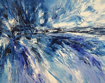 "Large abstract blue and white painting 61.0 "" x 33.5 "" Original  Acrylic, artist Peter Nottrott."