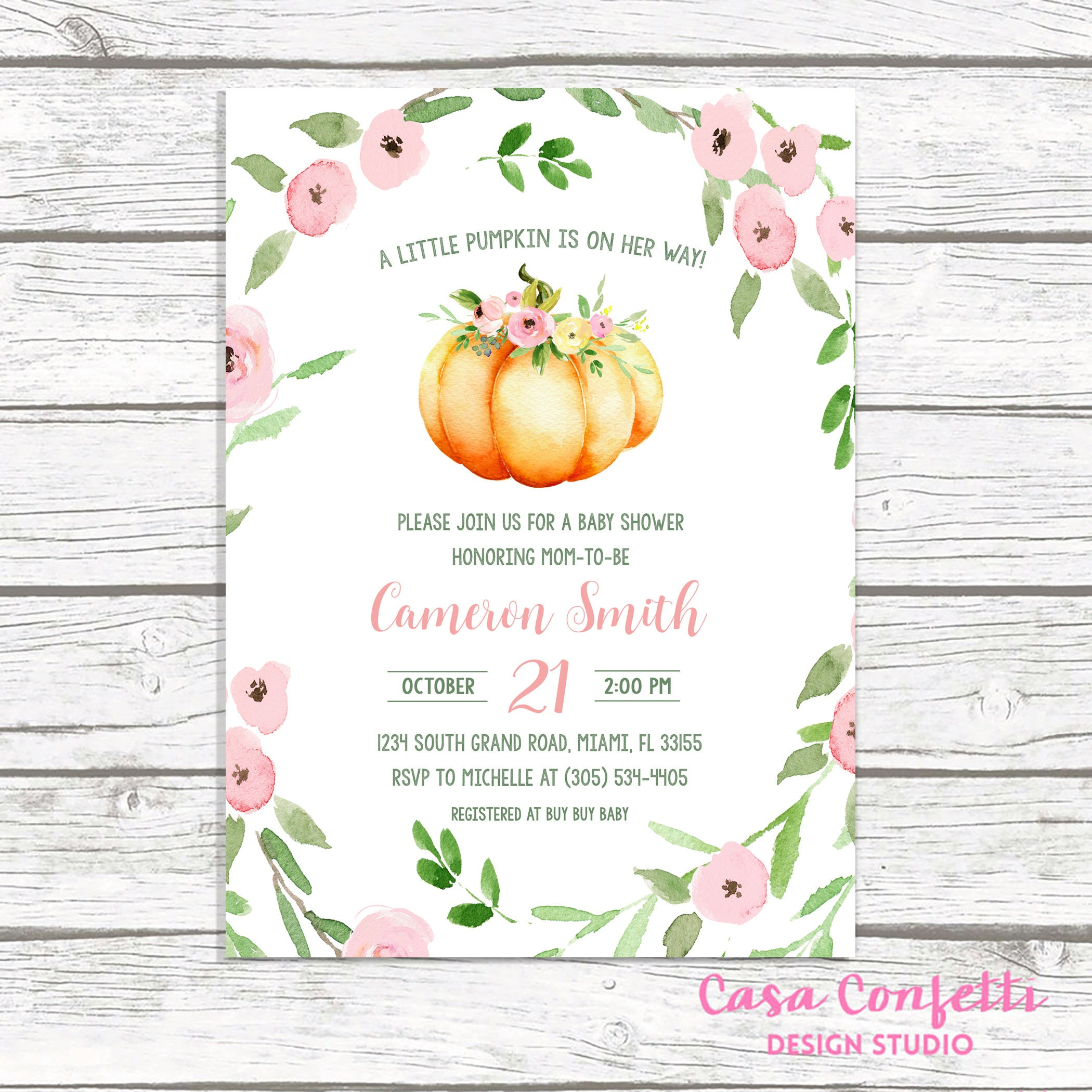 Pumpkin Baby Shower Invitation Girl, Little Pumpkin on the Way Baby ...