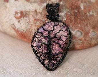 Sea Sediment Jasper Tree of Life Pendant with Black color wire