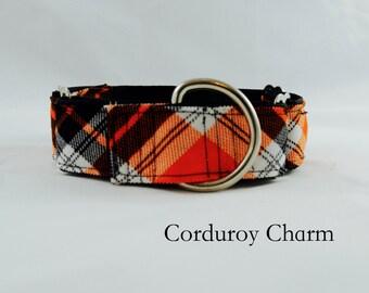 Orange Plaid Fall Dog Collar: Martingale Collar, Buckle Collar, Sighthound Collar
