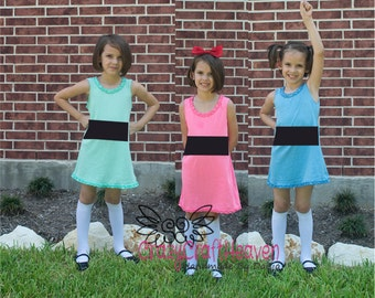Power Puff  inspired  Dress, Kids costume, super hero costume, hero dress, 6month -6x, baby girl costume, halloween, girl costume, costume