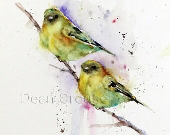 GOLDFINCH PAIR Watercolor Bird Print, Bird Art by Dean Crouser