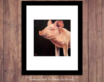 Pig Art Print from Original Oil Painting, Farm Art, Pig Painting, Farm Decor, Pig Wall Art, Farm Wall Art