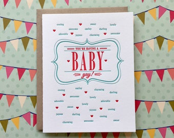 Letterpress Card - yay, you're having a baby!