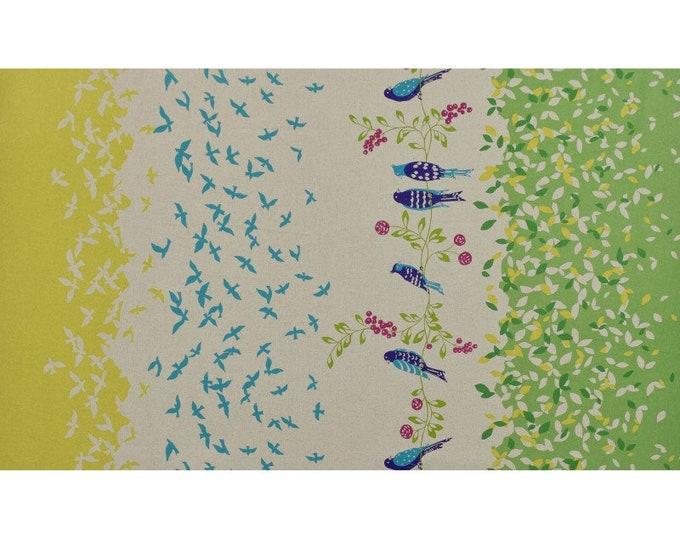ECHINO STANDARD Border Cotton Linen fabric Bird Song by Etsuko Furuya EF100_10C Green - select a length