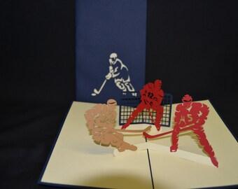 3-D Hockey Pop-Up Card