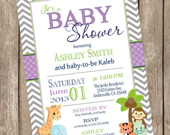 Safari Baby Shower Invitation, safari, chevron, purple, green, jungle, typography, printable invitation Safari1