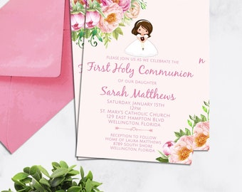 Girl First Communion Invitation, Printable Invitation, Spring Communion Invite, Any Hair Color Printable Girl Communion Invite