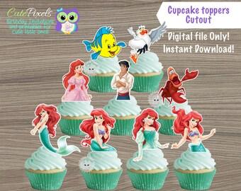 The little Mermaid cupcake toppers, Princess Ariel Cupcake Toppers, Little Mermaid Birthday, Ariel Topper, Disney Princess Birthday decor