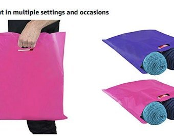100 merchandise bags gift bags plastic bags glossy bags retail bags large handle bag trade shows Craft shows Purple Pink