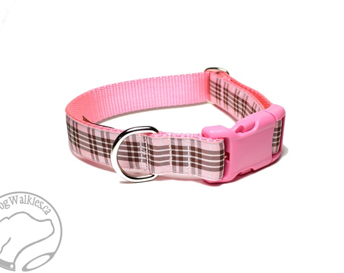 "Featured listing image: Raspberry Tartan - Pink Plaid Dog Collar - Quick Release or Martingale Dog Collar - 1"" (25mm) Wide - Your choice of size and style"