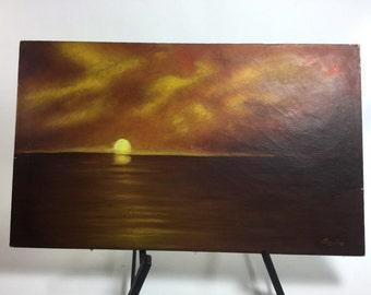 Tony Paz vintage oil painting of sunset 25x15 on canvas