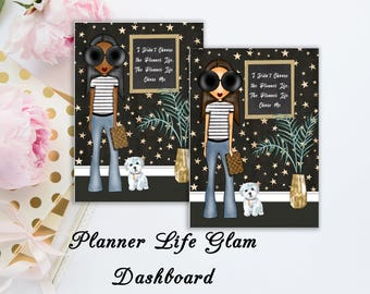 Planner Life Glam | Travelers notebook Dashboard | Skin Tone Options Available