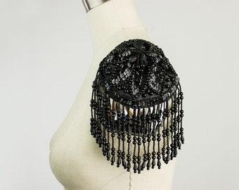 Black Beaded And Sequin Fringed Epaulet Applique / Fringe Epaulettes / Rockstar / Fashion Apparel / Costume / Diva / Bustier Bra Cups