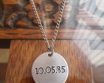 Customised Personalised Anniversary/Birthday Date Round Circle Pendant Necklace ~ Rustic Silver Handmade Hand Stamped Jewellery Jewelry Gift