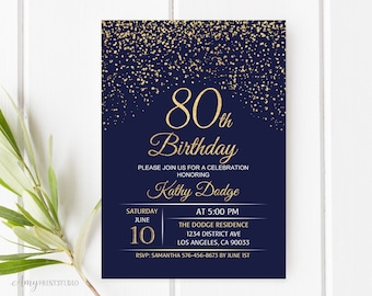 80th birthday invitations etsy 80th birthday invitation navy gold birthday invitation blue and gold birthday invite personalized filmwisefo Image collections