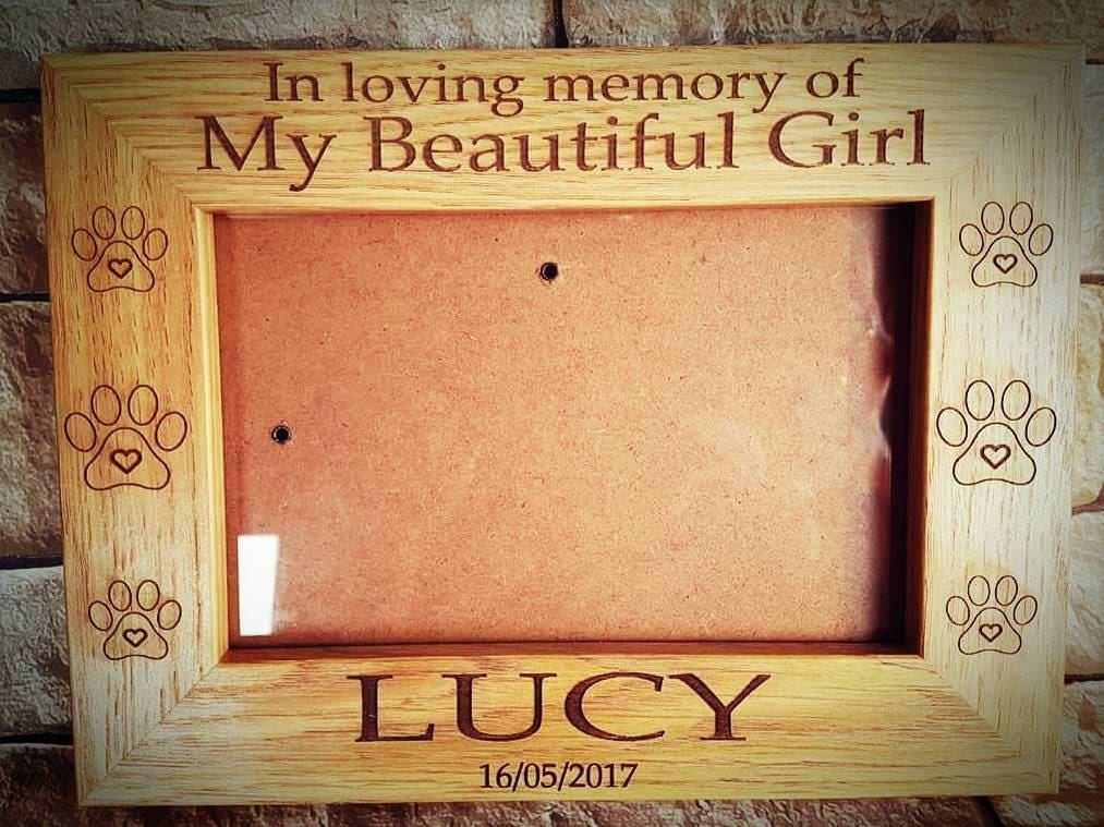 In loving memory pet engraved personalised frame, pet memorial gift ...