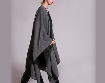 Shawl Wrap, Grey Shawl,  Black and Gray, Wraps Shawls, Cape Shawl, Shawls And Wraps, Poncho Wrap, Boho chic, Womens Shawls