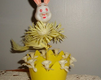 Vintage Easter Candy Basket, Easter Bunny, Yellow, Easter Decoration, Pink Ear, Rabbit, Flower, Plastic, Kitschy, Made in Hong Kong (371-15)