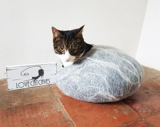 Cat Bed / Cat Cave / Ideal Cat Lover Gift / larger size grey white marble effect - Free Cat Ball