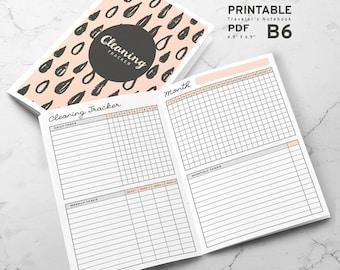 Printable Cleaning Tracker B6 Traveler's Notebook Inserts, B6 Cleaning Tracker Inserts, Printable B6 Travelers Notebook inserts, PDF file