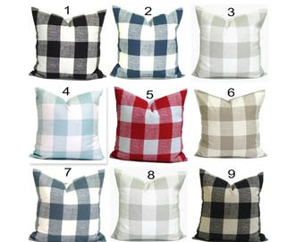 Buffalo Check Pillow Covers, Plaid Pillows. Check Pillow, Couch Pillow, Throw Pillow, Farmhouse Pillow, Pillow Sham.Euro Sham.cm. All Sizes