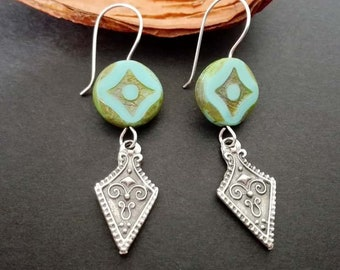 Boho Earrings | Ethnic Earrings | Antique Silver Plated Earrings | Tribal Earrings | Bohemian Earrings | Boho Chic Turquoise Glass Earrings