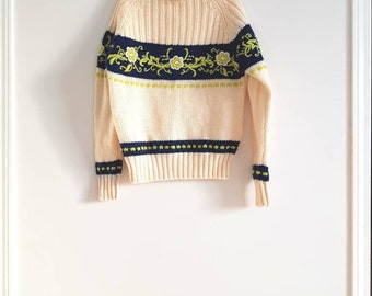 Vintage Cream Wool Sweater