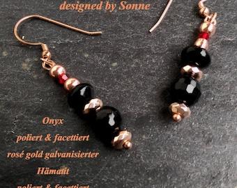 Onyx Earrings Hanging Earrings onyx handmade hand crafted rose gold hematite hematite Earrings Swarovski Earrings Rosegold Plated
