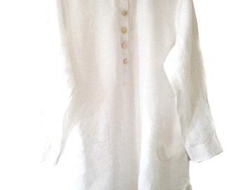 White .Linen. Dress.Mother pearl buttons. Handmade. Ribbons inside. cmz collection. cmz.