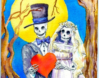 Day of the Dead, Original Painting, 8 x 10 watercolor, skeleton bride, skeleton wedding, October Wedding gift