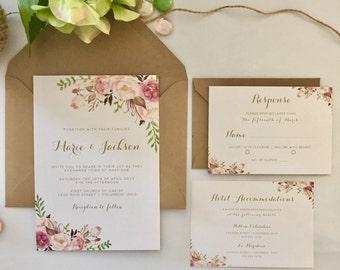 Maria - VINTAGE FLORAL Wedding Invitation
