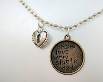 Choose love every single day- Harry Styles charm handstamped with a heart, bronze, for 1D lovers, One Direction fan