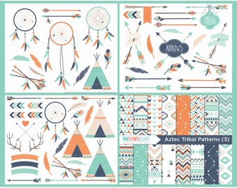 Clipart Bundle - Tribal Clipart (#3) / American Indian / Tribal Designs / Bohemian Wedding - Blue, Navy, Orange