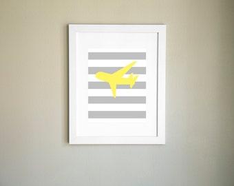 Yellow Airplane Print, Nursery Printable, Child Wall Art, Airplane Printable, Printable Art, Nursery Art, Printable Art, Instant Download