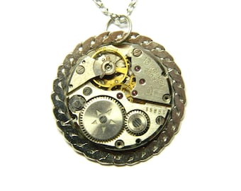 Silver colored steampunk jewelry necklace, steam punk heart birthday gift, vintage clockwork, simple pendant casual gift for friend, kinsman