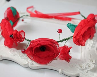 Red poppies fabric wreath
