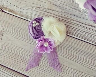 Lavender Hair Flower, wedding wrist corsage,  Bridal  Hair clip , Wedding Hair Flower, Fascinator, bridal hair pin,  wrist corsage, hair pin