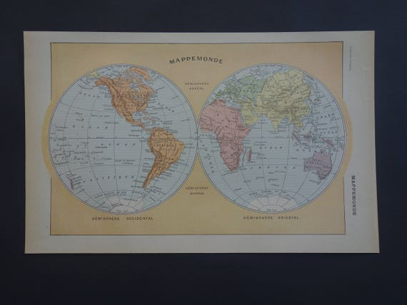 Worldmap antique map of the world 1923 original old double worldmap antique map of the world 1923 original old double hemisphere map small vintage world maps two hemispheres print gumiabroncs Gallery