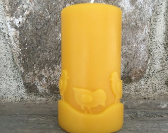 Pure Beeswax Spring Chick Candle 3.5 x 3 inches