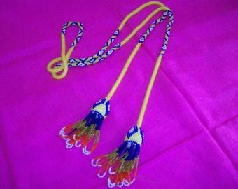 Crochet Lariat Tie Necklace Beaded RopeNecklace Boho Hippie Long Beadwork Necklace Tassels Yellow Blue Diamond Pattern