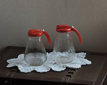 Vintage Federal Tool Corp Glass RED LID Syrup Dispenser Table Kitchen Container