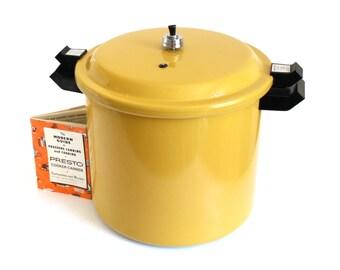 Presto Pressure Canner Large 20 Quart Size - Holds Half Gallon Jars - 1970s Harvest Gold CAA20