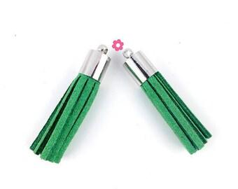 x 2 dark green tassel suede silver 35mm (206D)