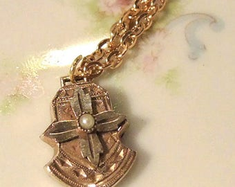 10K Gold Plated Repurposed Watch Fob Necklace - 10K Gold Filled Chain - Vintage Watch Fob