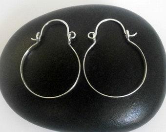 "Small Sterling Silver Hinged Hoop Earrings Artisan Silver Hoops Little Silver Hammered Hoops Wire Jewelry Tribal Jewelry 1"", 1.25"""