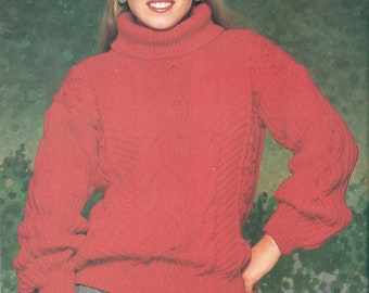 Vintage Woman's Aran Pullover Knitting Pattern