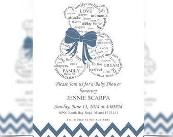Boy, Teddy Bear Baby Shower Invitation Digital File, Baby Shower, Bear Invitation, Oh Boy - It's a Girl Baby Shower - Personalized